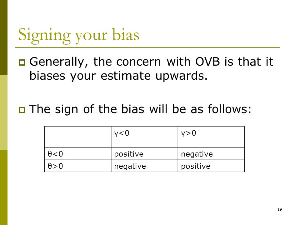 Signing your bias  Generally, the concern with OVB is that it biases your estimate upwards.  The sign of the bias will be as follows: 19 γ<0γ>0 θ<0p