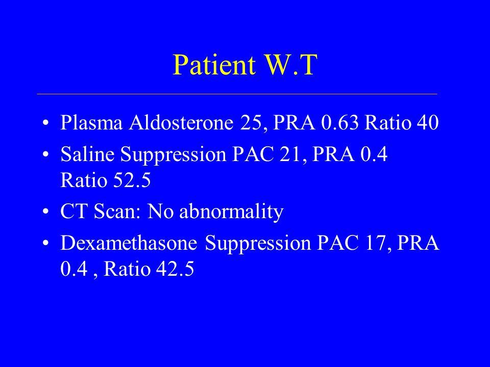 Patient W.T Plasma Aldosterone 25, PRA 0.63 Ratio 40 Saline Suppression PAC 21, PRA 0.4 Ratio 52.5 CT Scan: No abnormality Dexamethasone Suppression PAC 17, PRA 0.4, Ratio 42.5