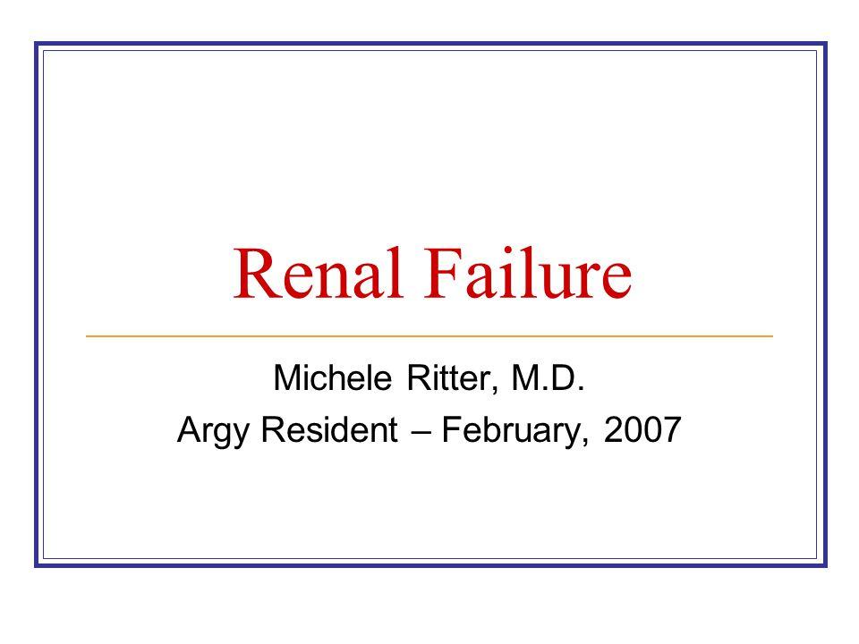 Renal Failure Michele Ritter, M.D. Argy Resident – February, 2007