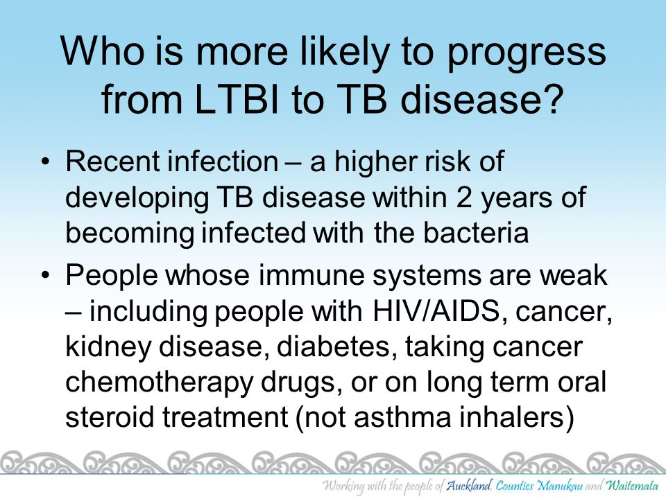 Symptoms of TB disease Unexplained weight loss Unexplained fever Loss of appetite Sweating (especially at night) Feeling tired or weak all the time Cough lasting 3 weeks or more, and not getting better Coughing up blood or bloody sputum (spit) Chest pain Shortness of breath Symptoms related to part of body affected e.g.