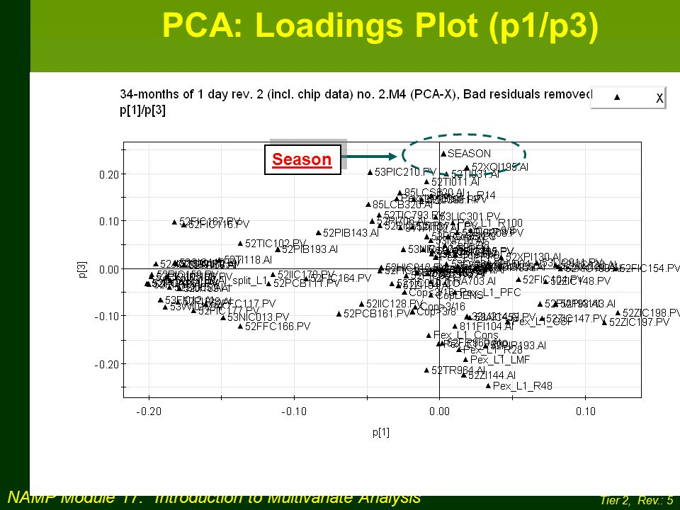 NAMP Module 17: Introduction to Multivariate Analysis Tier 2, Rev.: 5 PCA: Loadings Plot (p1/p3) Season