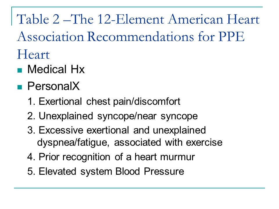 Table 2 –The 12-Element American Heart Association Recommendations for PPE Heart Medical Hx PersonalX 1. Exertional chest pain/discomfort 2. Unexplain