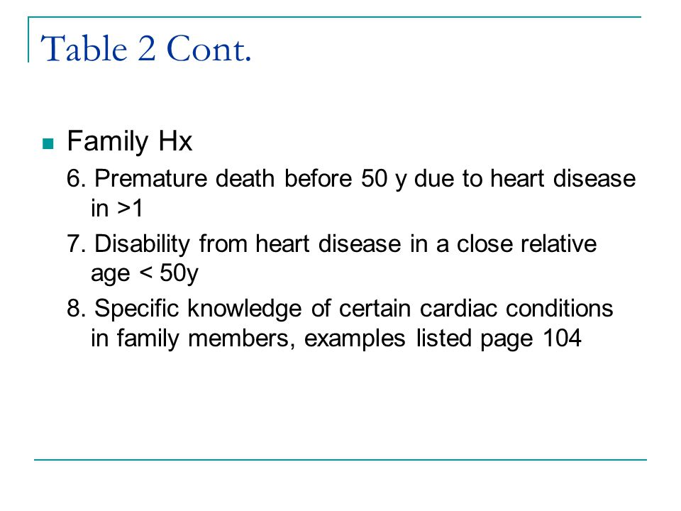 Table 2 Cont. Family Hx 6. Premature death before 50 y due to heart disease in >1 7. Disability from heart disease in a close relative age < 50y 8. Sp