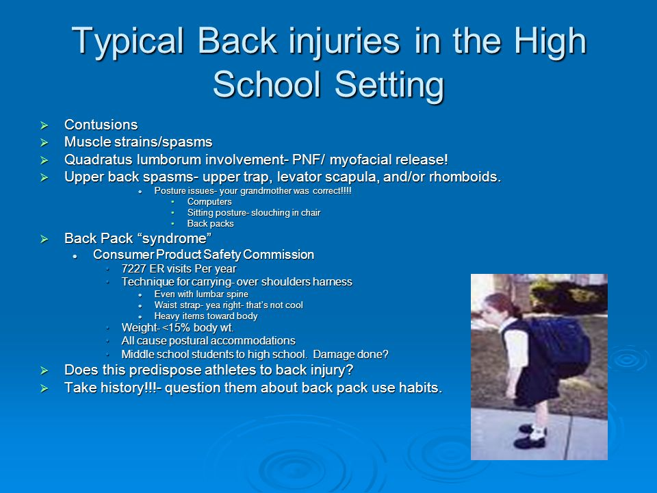 Typical Back injuries in the High School Setting  Contusions  Muscle strains/spasms  Quadratus lumborum involvement- PNF/ myofacial release.