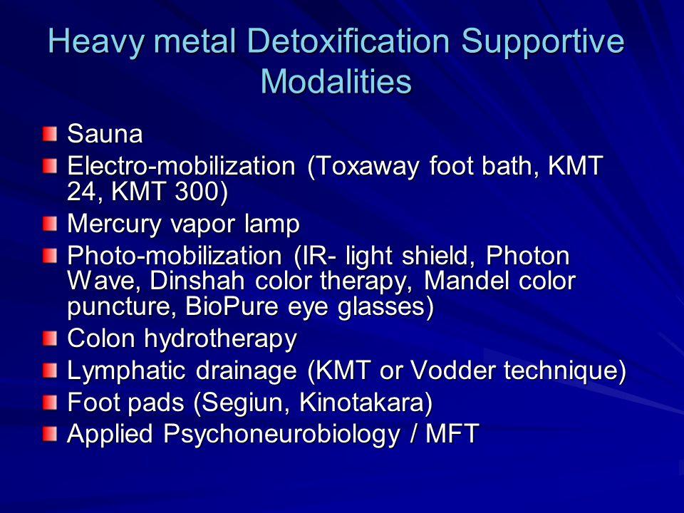 Heavy metal Detoxification Supportive Modalities Sauna Electro-mobilization (Toxaway foot bath, KMT 24, KMT 300) Mercury vapor lamp Photo-mobilization