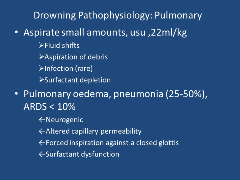 Drowning Pathophysiology: Pulmonary Aspirate small amounts, usu,22ml/kg  Fluid shifts  Aspiration of debris  Infection (rare)  Surfactant depletio
