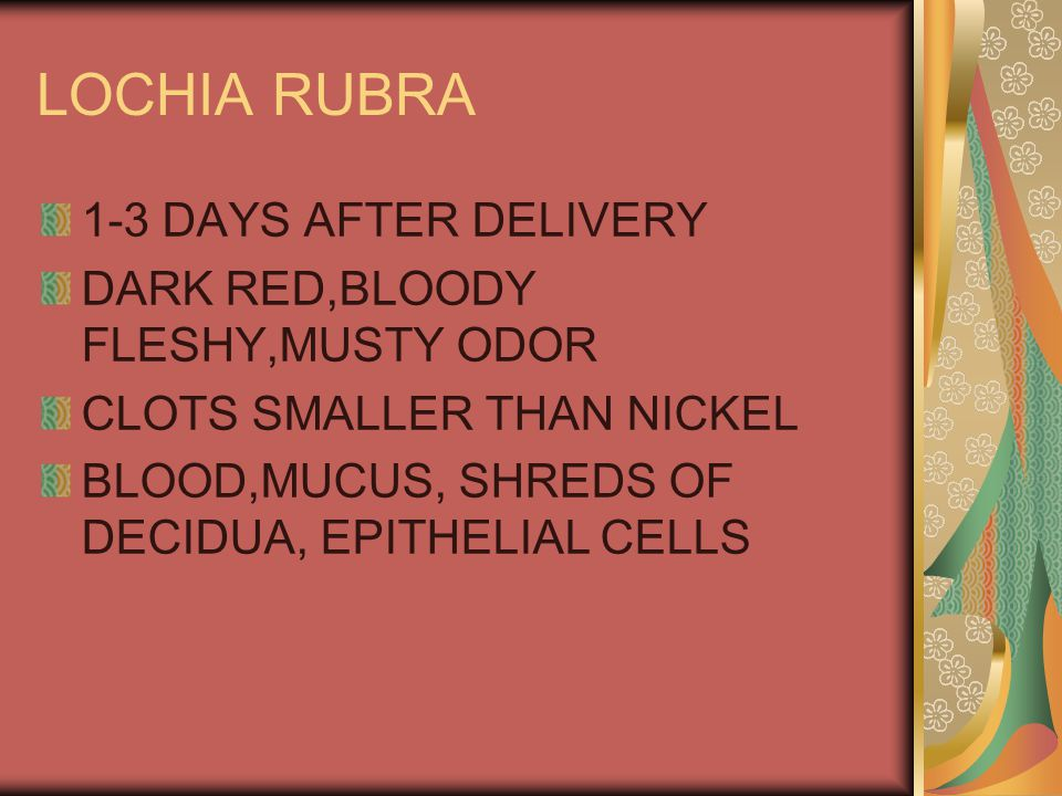 LOCHIA RUBRA 1-3 DAYS AFTER DELIVERY DARK RED,BLOODY FLESHY,MUSTY ODOR CLOTS SMALLER THAN NICKEL BLOOD,MUCUS, SHREDS OF DECIDUA, EPITHELIAL CELLS