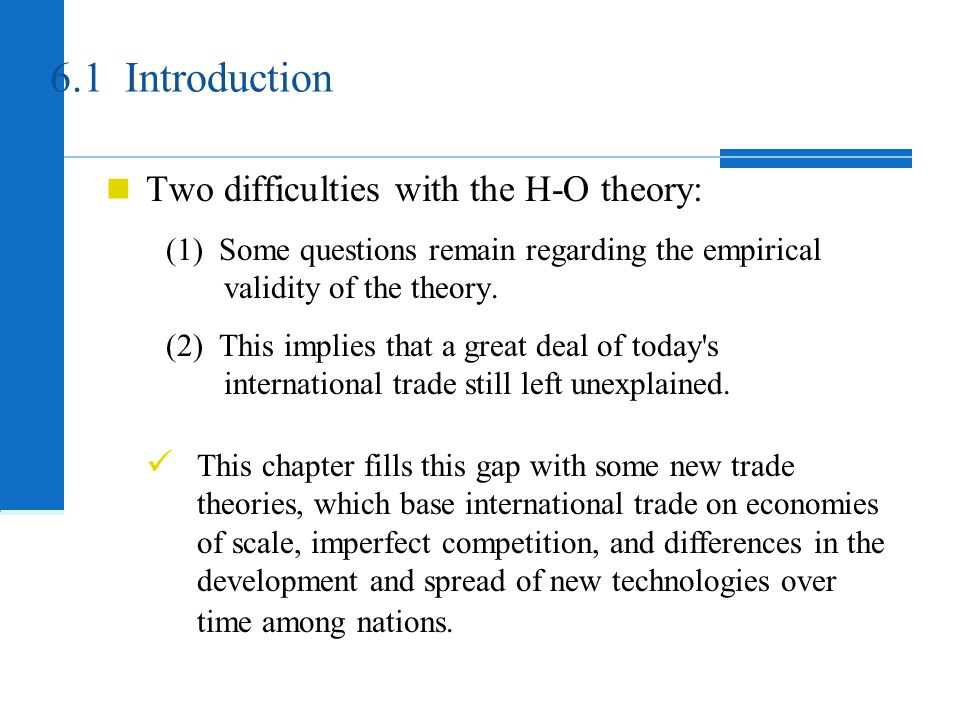Introduction Heckscher-Ohlin theory based comparative advantage on differences in factor endowments among nations.