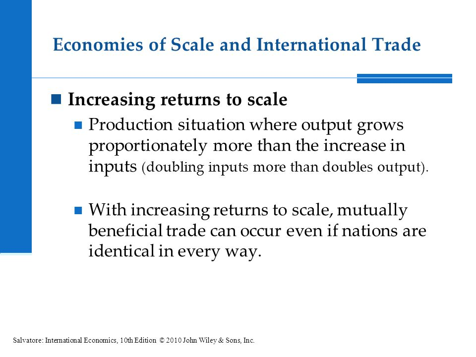 6.3 Economies of Scale and International (1) There are two nations (N1, N2) two commodities (X, Y) (2) Both nations use the same technology in production.