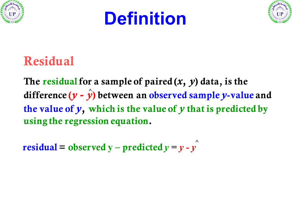 Residual The residual for a sample of paired ( x, y ) data, is the difference ( y - y ) between an observed sample y -value and the value of y, which is the value of y that is predicted by using the regression equation.
