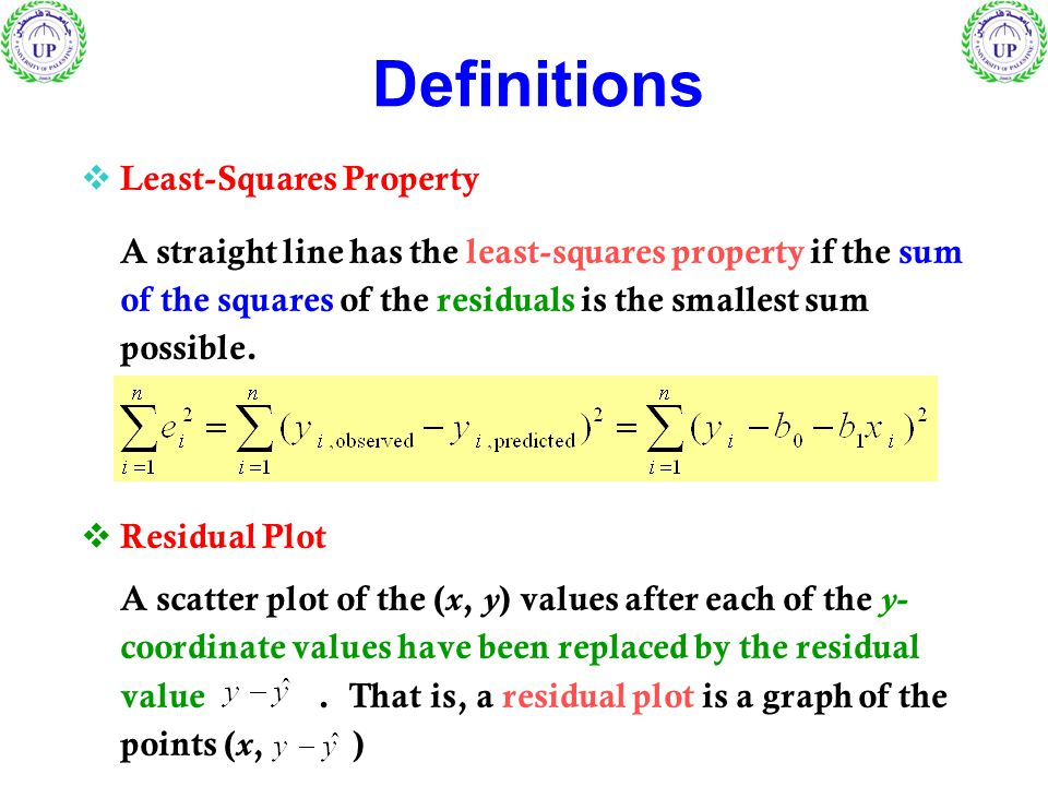  Least-Squares Property A straight line has the least-squares property if the sum of the squares of the residuals is the smallest sum possible.