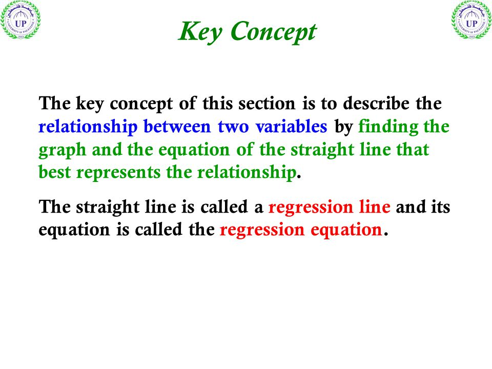 Key Concept The key concept of this section is to describe the relationship between two variables by finding the graph and the equation of the straight line that best represents the relationship.