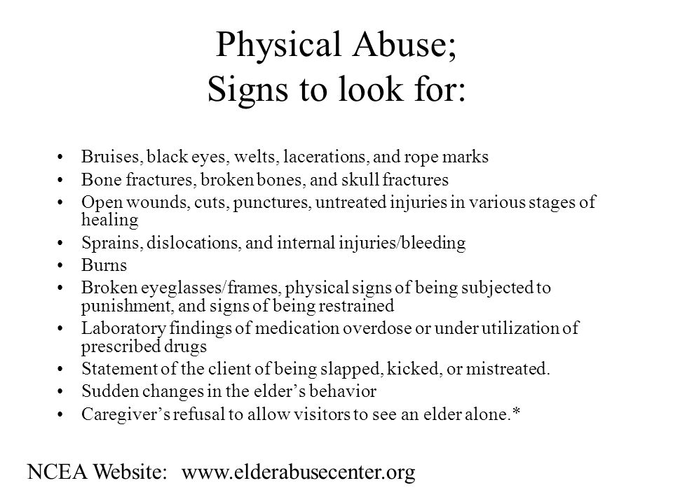 Physical Abuse The use of physical force that may result in bodily injury, physical pain, or impairment.