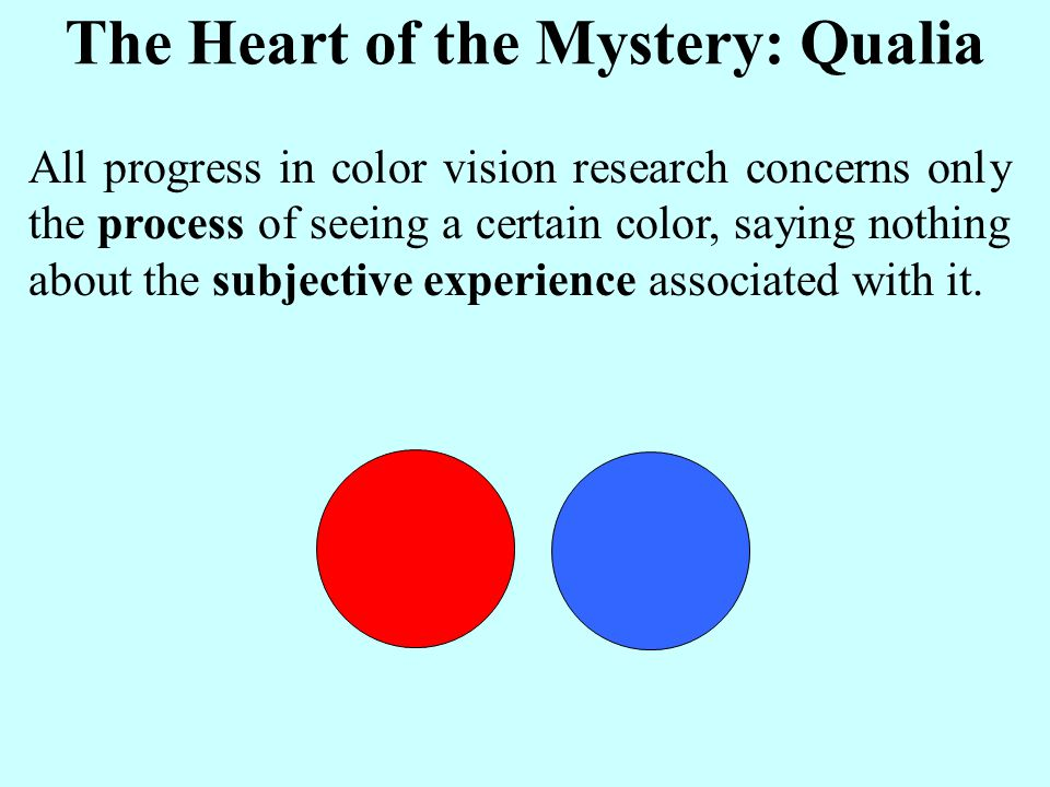 The Heart of the Mystery: Qualia All progress in color vision research concerns only the process of seeing a certain color, saying nothing about the subjective experience associated with it.