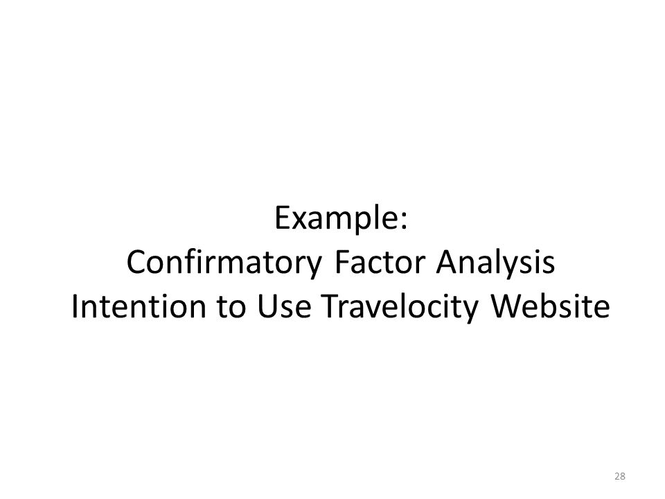 Example: Confirmatory Factor Analysis Intention to Use Travelocity Website 28