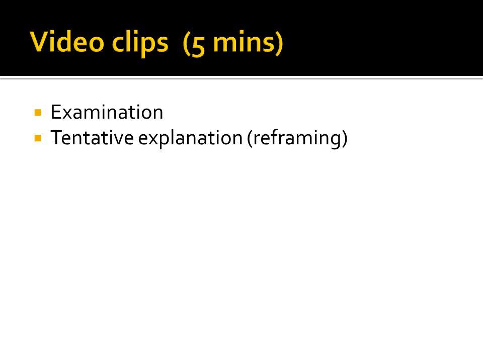  Examination  Tentative explanation (reframing)