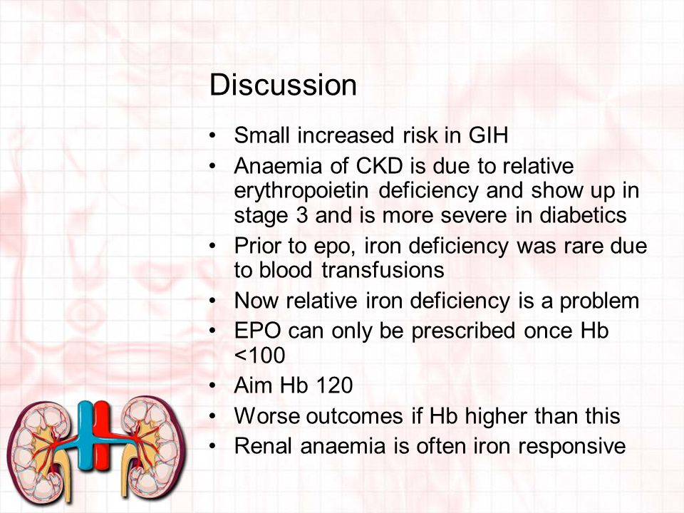 Discussion Small increased risk in GIH Anaemia of CKD is due to relative erythropoietin deficiency and show up in stage 3 and is more severe in diabetics Prior to epo, iron deficiency was rare due to blood transfusions Now relative iron deficiency is a problem EPO can only be prescribed once Hb <100 Aim Hb 120 Worse outcomes if Hb higher than this Renal anaemia is often iron responsive