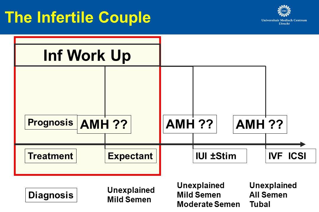 The Infertile Couple Inf Work Up IUI ±StimIVF ICSI AMH ?? Diagnosis AMH ?? TreatmentExpectant Prognosis Unexplained Mild Semen Unexplained Mild Semen
