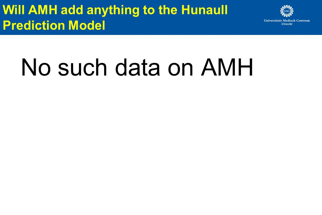 No such data on AMH Will AMH add anything to the Hunaull Prediction Model
