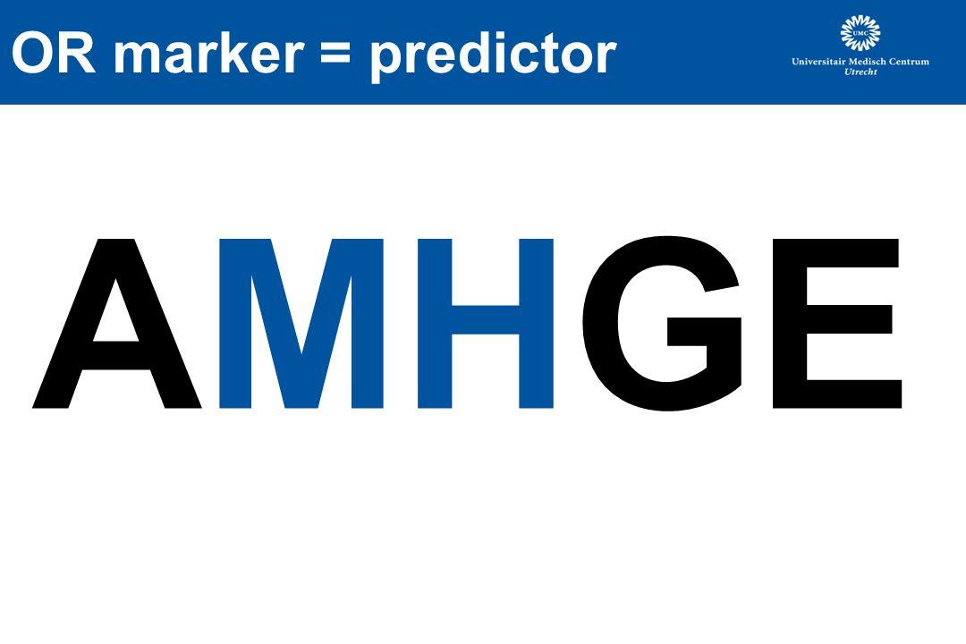 OR marker = predictor AMHGE