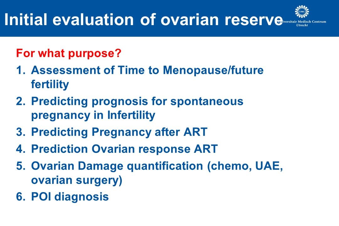 Initial evaluation of ovarian reserve For what purpose.