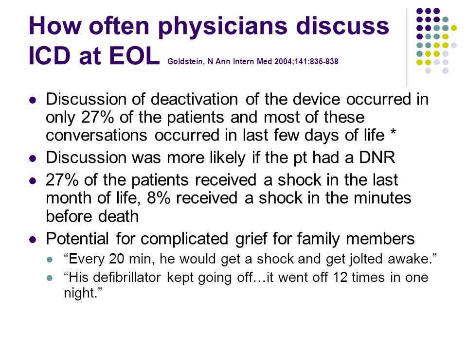 How often physicians discuss ICD at EOL Goldstein, N Ann Intern Med 2004;141:835-838 Discussion of deactivation of the device occurred in only 27% of the patients and most of these conversations occurred in last few days of life * Discussion was more likely if the pt had a DNR 27% of the patients received a shock in the last month of life, 8% received a shock in the minutes before death Potential for complicated grief for family members Every 20 min, he would get a shock and get jolted awake. His defibrillator kept going off…it went off 12 times in one night.