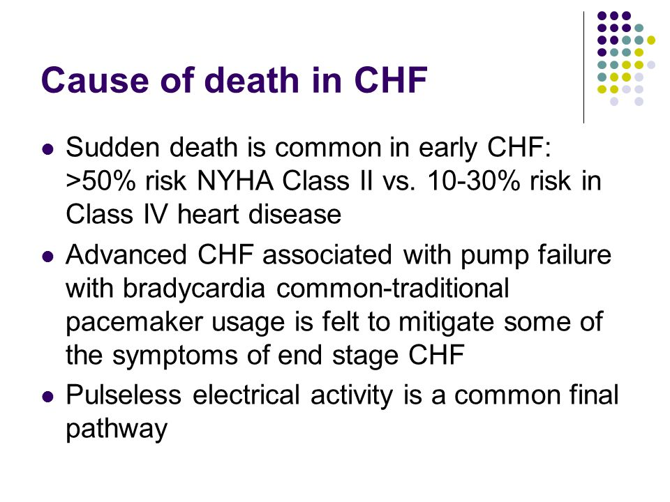 Cause of death in CHF Sudden death is common in early CHF: >50% risk NYHA Class II vs.