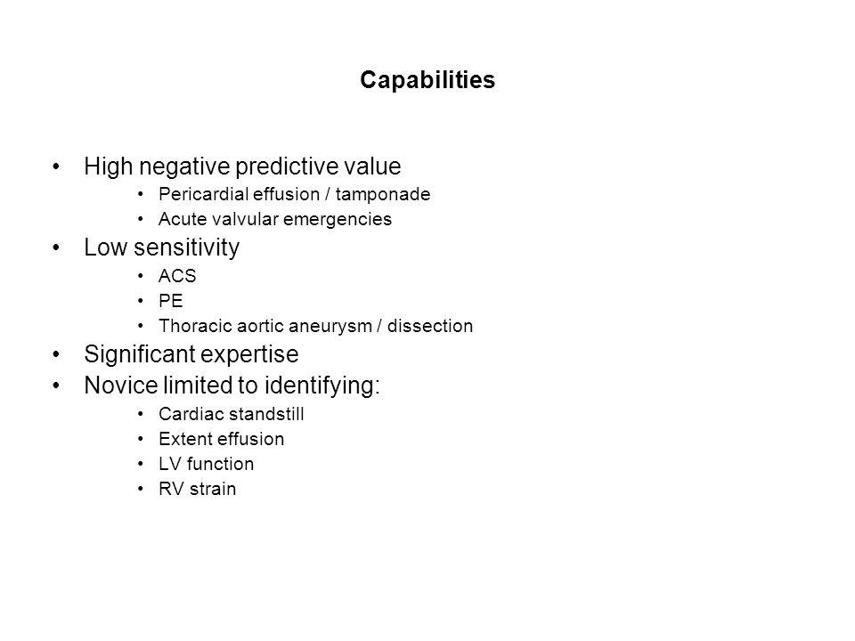 Capabilities High negative predictive value Pericardial effusion / tamponade Acute valvular emergencies Low sensitivity ACS PE Thoracic aortic aneurys
