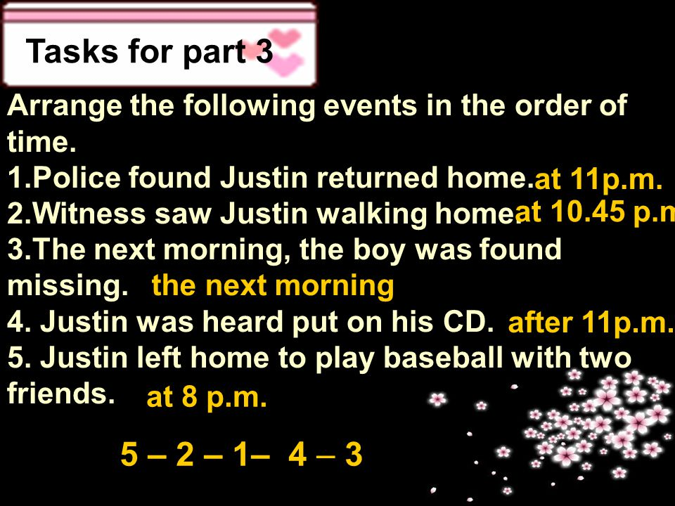 Tasks for part 3 Arrange the following events in the order of time. 1.Police found Justin returned home. 2.Witness saw Justin walking home. 3.The next