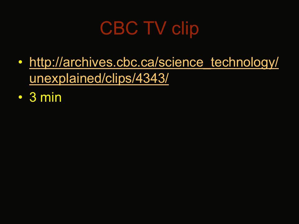 CBC TV clip http://archives.cbc.ca/science_technology/ unexplained/clips/4343/http://archives.cbc.ca/science_technology/ unexplained/clips/4343/ 3 min