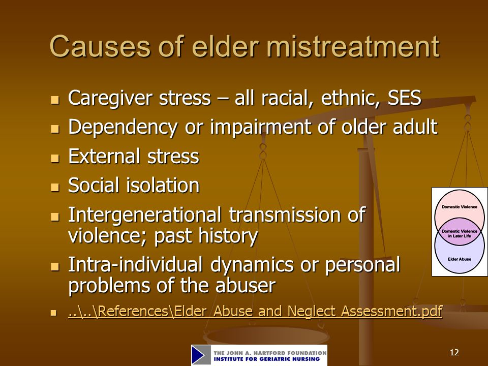 12 Causes of elder mistreatment Caregiver stress – all racial, ethnic, SES Caregiver stress – all racial, ethnic, SES Dependency or impairment of olde