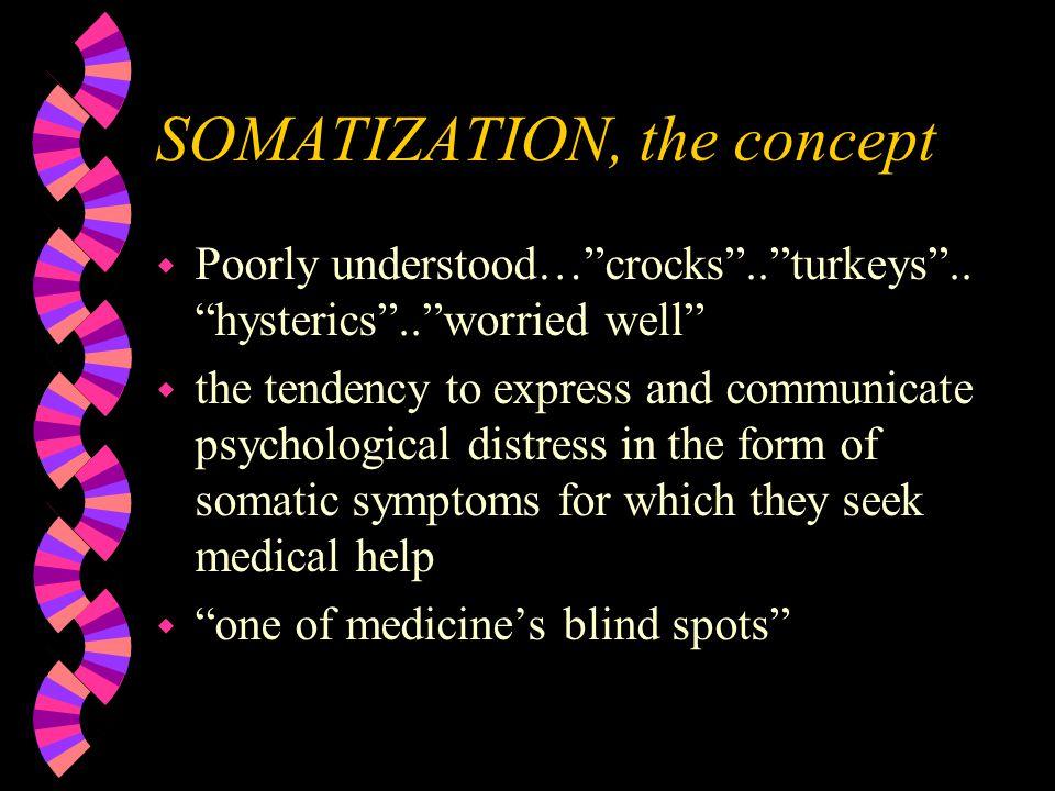 SOMATIZATION, the concept w Poorly understood… crocks .. turkeys ..