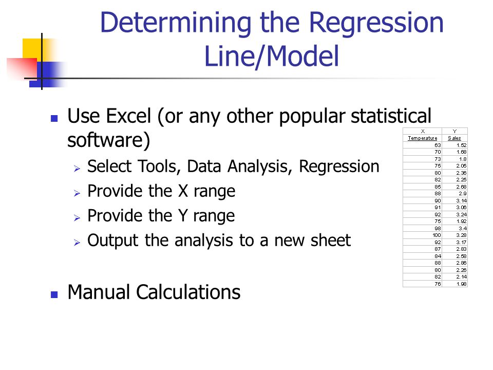 Determining the Regression Line/Model Use Excel (or any other popular statistical software)  Select Tools, Data Analysis, Regression  Provide the X