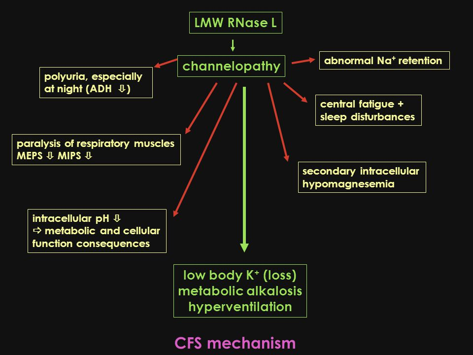 LMW RNase L channelopathy low body K + (loss) metabolic alkalosis hyperventilation central fatigue + sleep disturbances paralysis of respiratory muscles MEPS  MIPS  secondary intracellular hypomagnesemia abnormal Na + retention polyuria, especially at night (ADH  ) intracellular pH   metabolic and cellular function consequences CFS mechanism