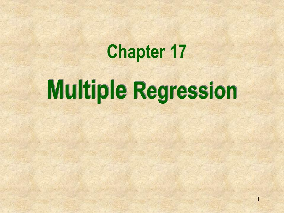 2 Introduction In this chapter we extend the simple linear regression model, and allow for any number of independent variables.