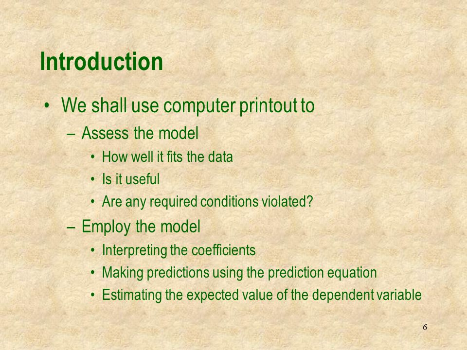 7 Dependent variableIndependent variables Random error variable 17.1 Model and Required Conditions Coefficients We allow k independent variables to potentially explain the dependent variable y =  0 +  1 x 1 +  2 x 2 + …+  k x k + 