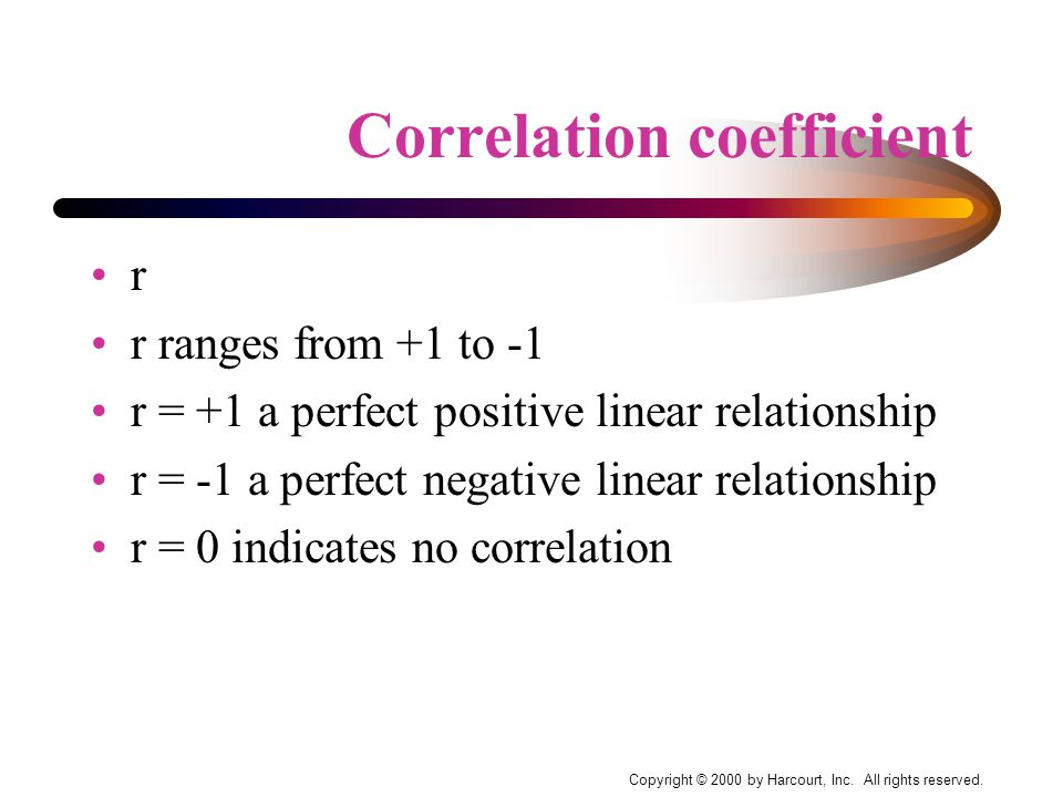 Correlation coefficient r r ranges from +1 to -1 r = +1 a perfect positive linear relationship r = -1 a perfect negative linear relationship r = 0 indicates no correlation