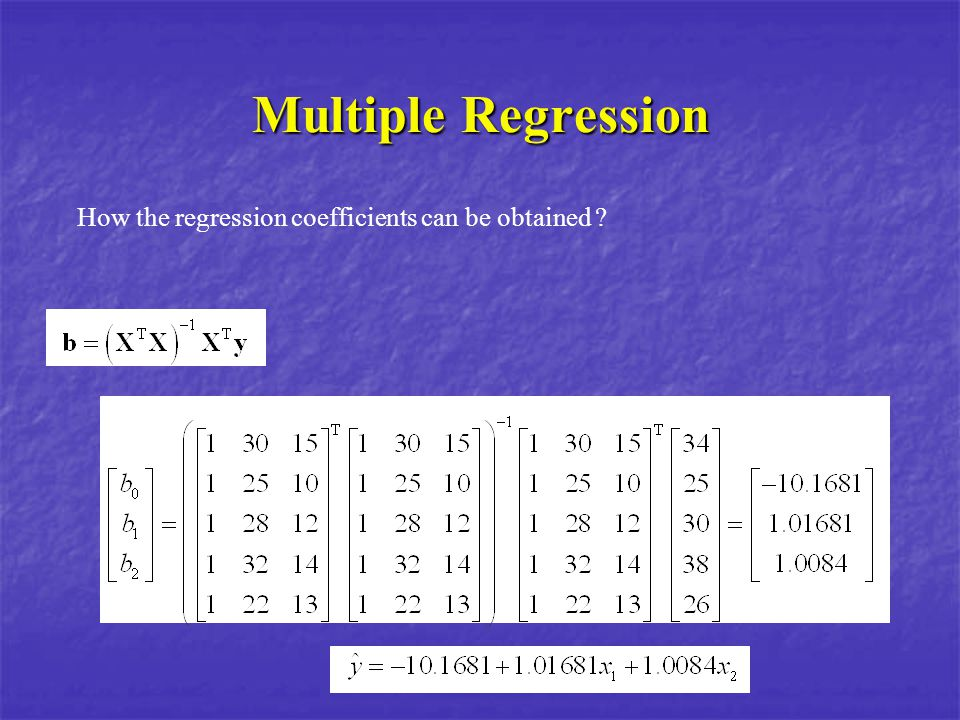 Multiple Regression How the regression coefficients can be obtained ?