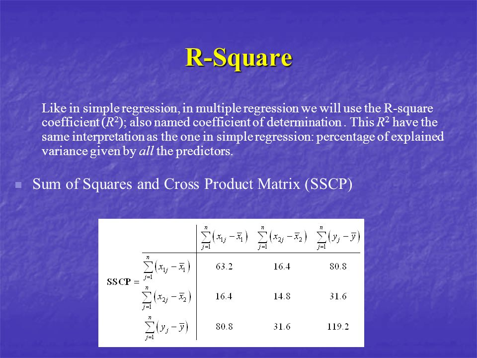 R-Square Like in simple regression, in multiple regression we will use the R-square coefficient (R 2 ); also named coefficient of determination. This