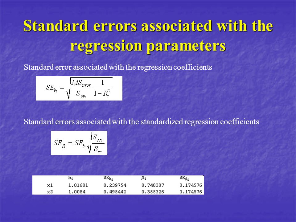 Standard errors associated with the regression parameters Standard error associated with the regression coefficients Standard errors associated with t