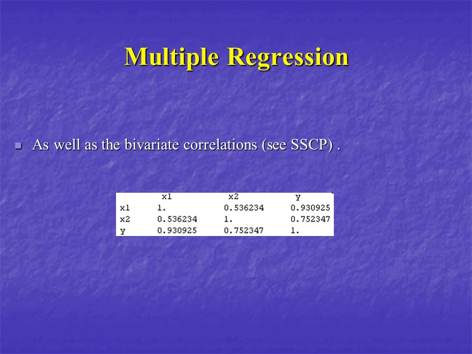 Multiple Regression As well as the bivariate correlations (see SSCP). As well as the bivariate correlations (see SSCP).