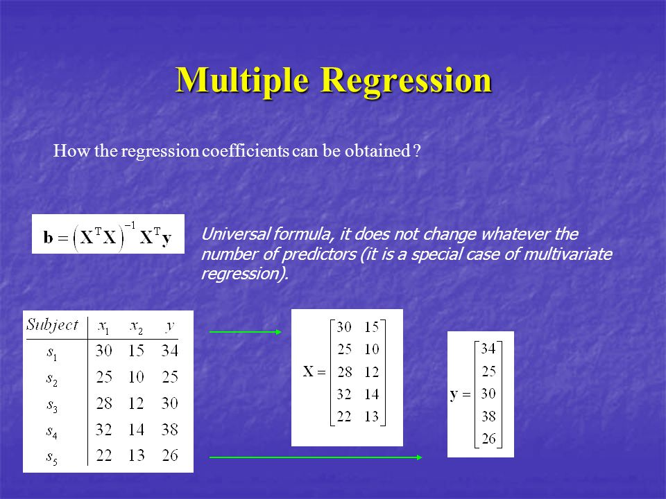 Multiple Regression How the regression coefficients can be obtained ? Universal formula, it does not change whatever the number of predictors (it is a