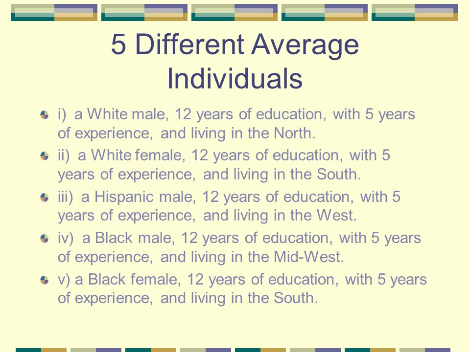 5 Different Average Individuals i) a White male, 12 years of education, with 5 years of experience, and living in the North.