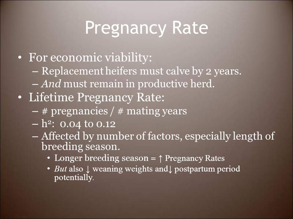 Pregnancy Rate For economic viability: – Replacement heifers must calve by 2 years.
