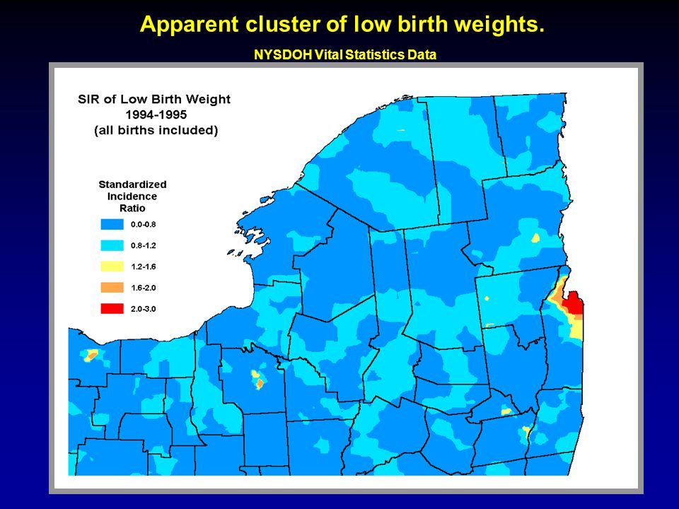 Apparent cluster of low birth weights. NYSDOH Vital Statistics Data