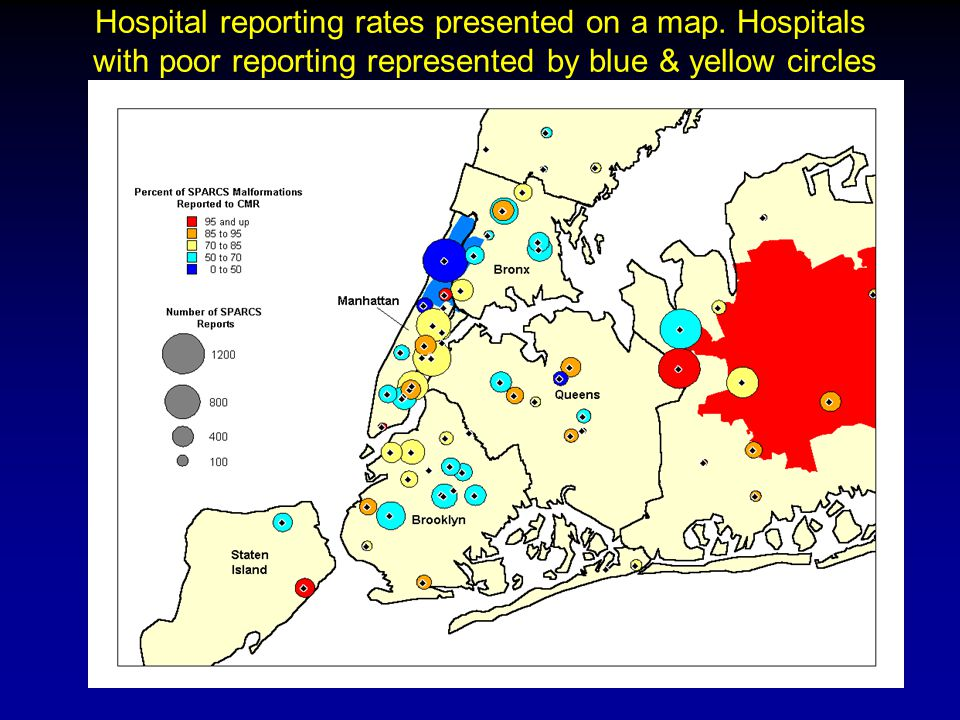 Hospital reporting rates presented on a map.