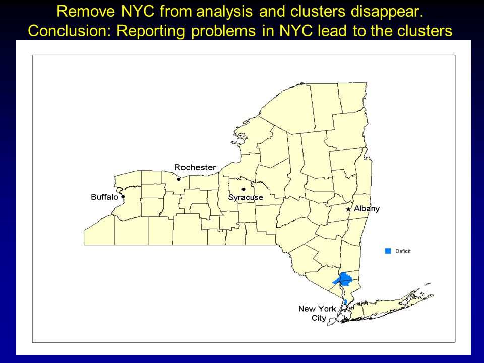 Remove NYC from analysis and clusters disappear. Conclusion: Reporting problems in NYC lead to the clusters