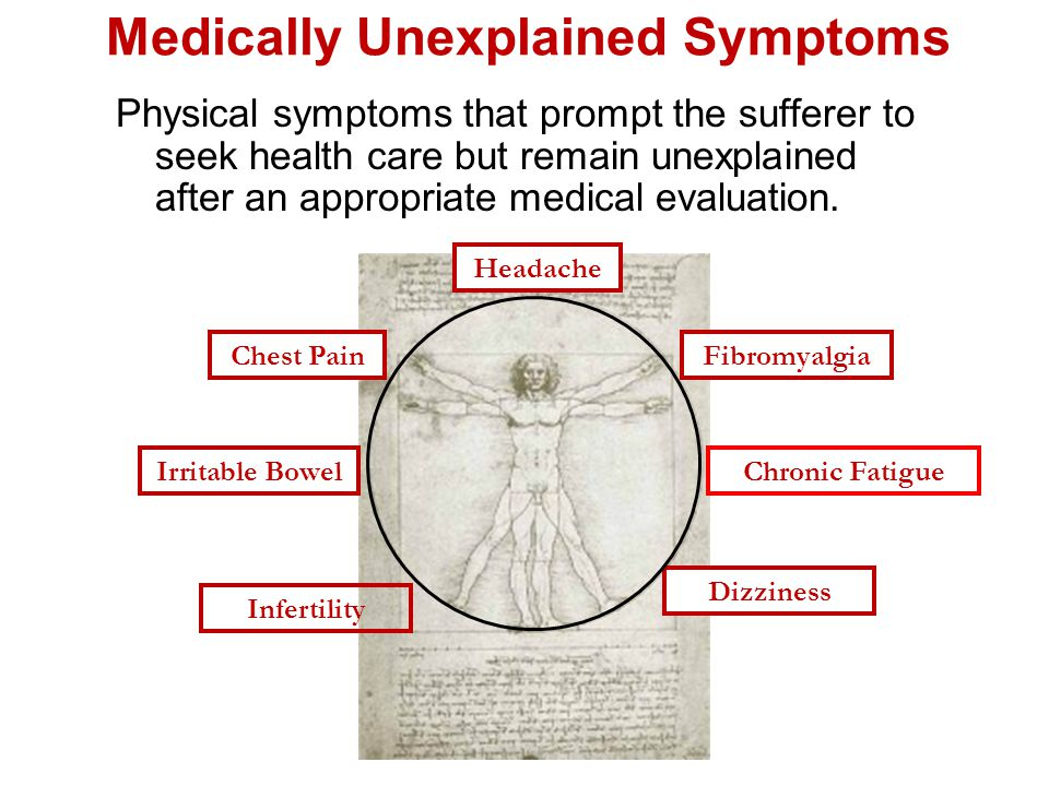 Medically Unexplained Symptoms Physical symptoms that prompt the sufferer to seek health care but remain unexplained after an appropriate medical evaluation.