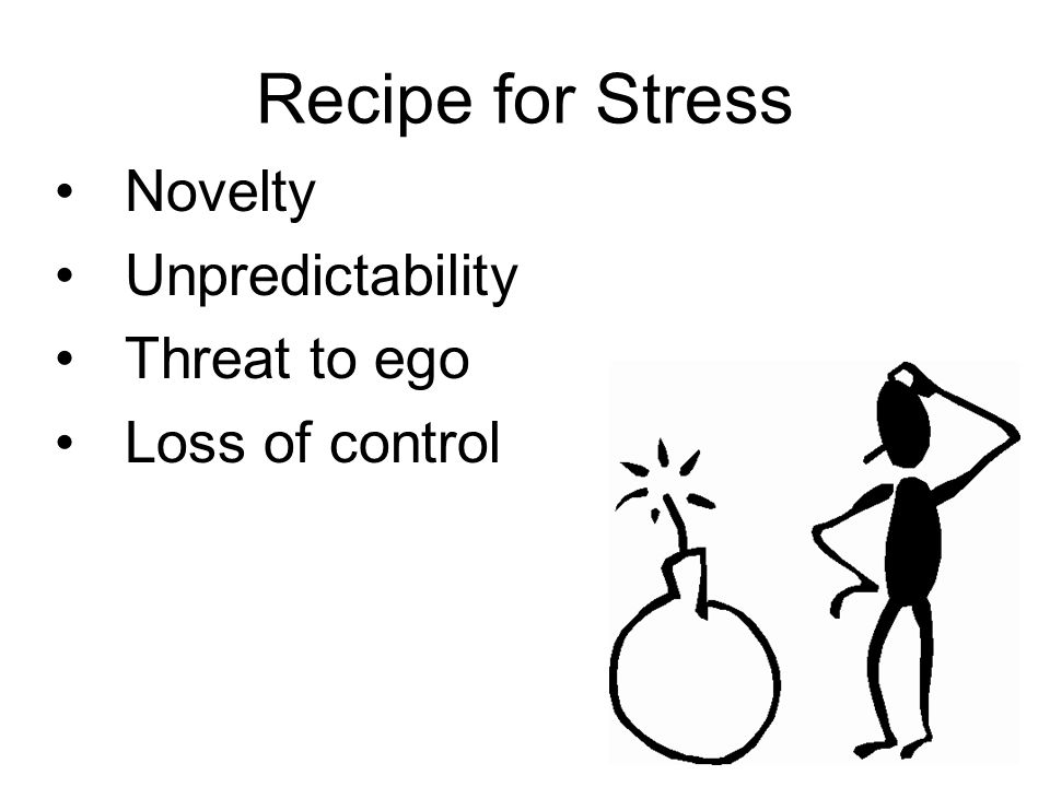 Recipe for Stress Novelty Unpredictability Threat to ego Loss of control