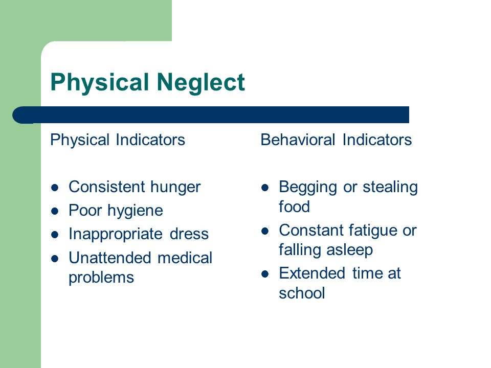 Physical Neglect Physical Indicators Consistent hunger Poor hygiene Inappropriate dress Unattended medical problems Behavioral Indicators Begging or stealing food Constant fatigue or falling asleep Extended time at school